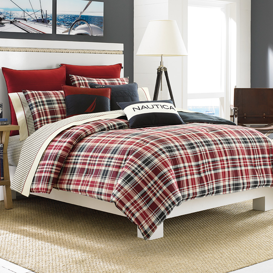 Full Queen Comforter Set Nautica Mailsail Plaid