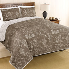 Map Khaki Quilt Set