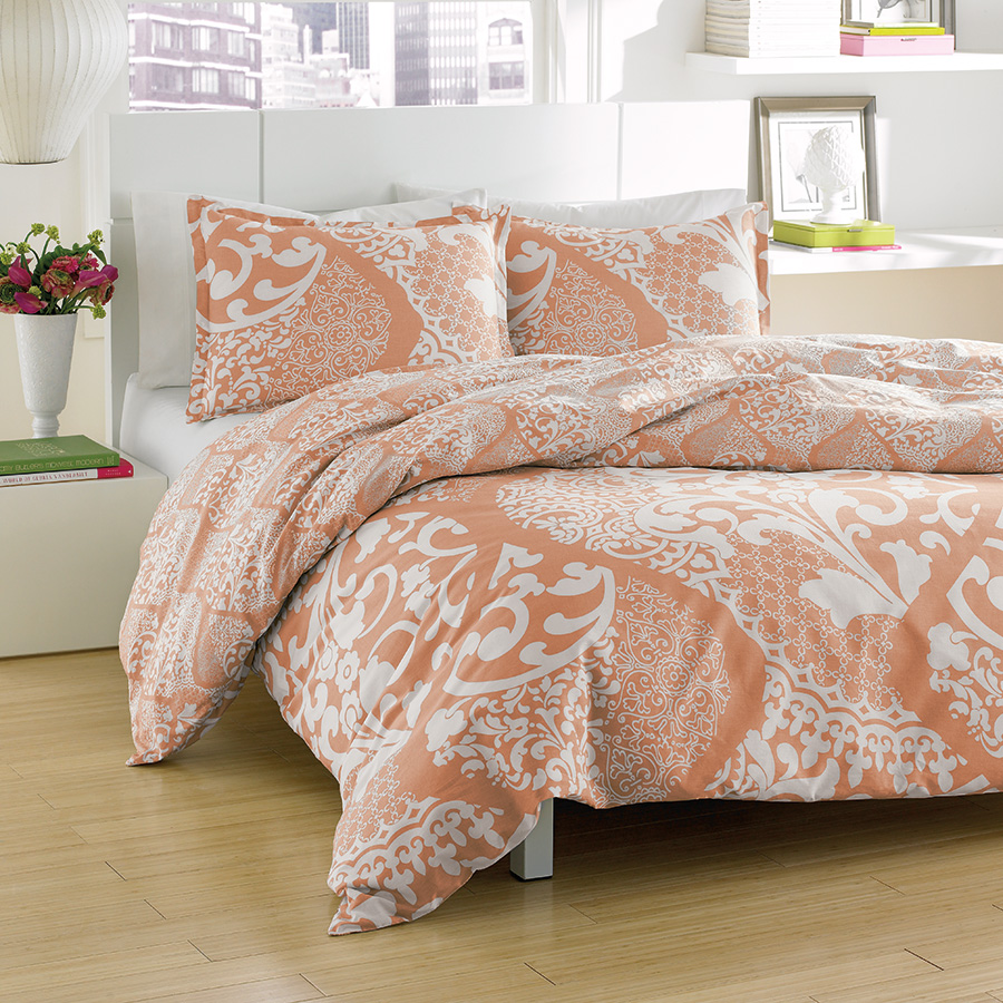 Twin Comforter Set City Scene Medley Coral