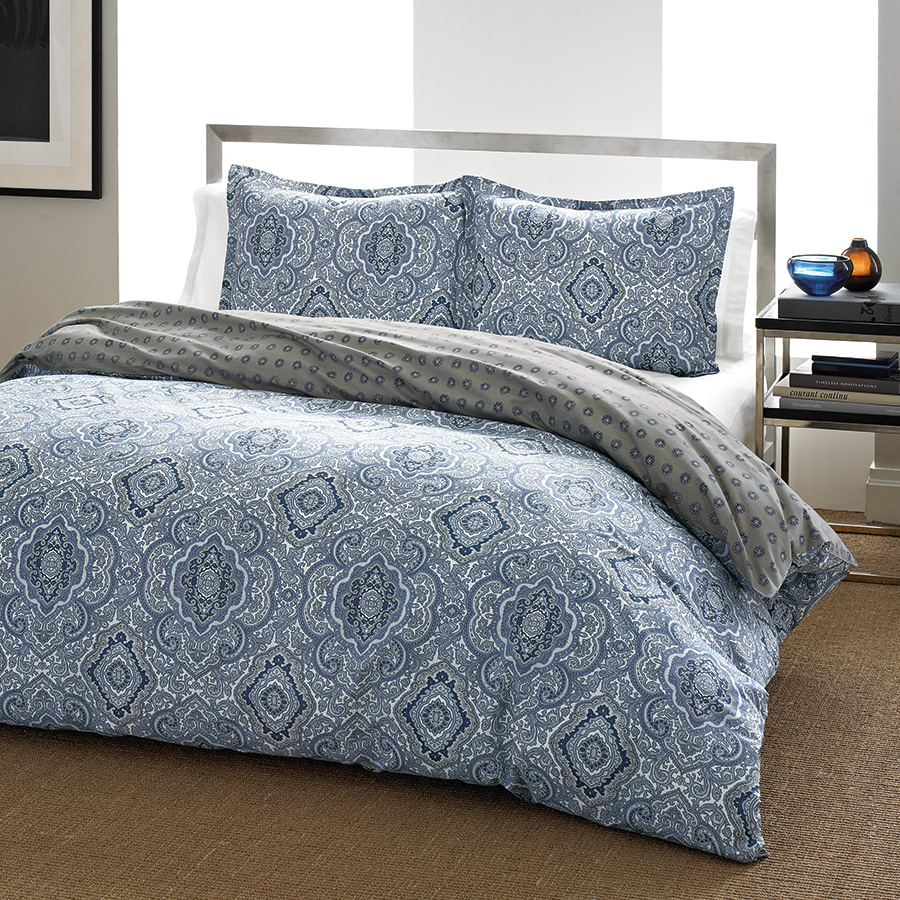 Full Queen Comforter Set City Scene Milan Blue