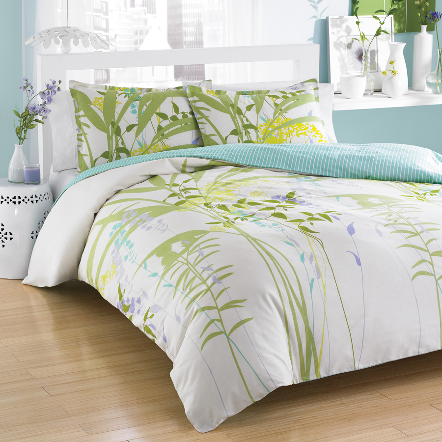 Twin Comforter Set City Scene <span class= by REVMAN >by REVMAN< span> Mixed Floral