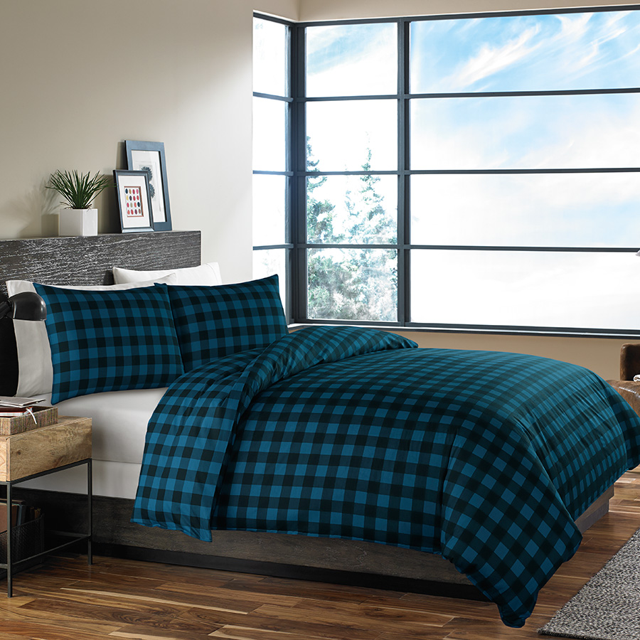 Eddie Bauer Mountain Plaid Indigo Comforter And Duvet Set