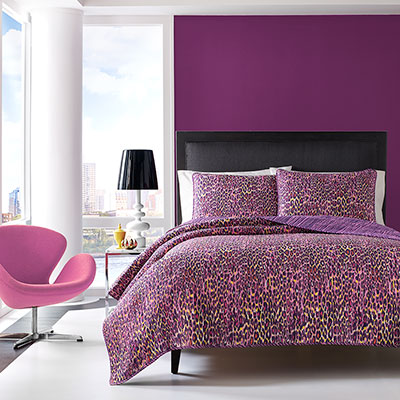 Betsey Johnson Multi Leopard Multi Pink Quilt Set From
