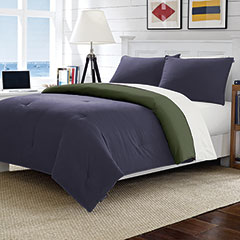 Solid Microfiber Reversible Navy Comforter Set