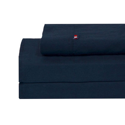 Tommy Hilfiger Solid Navy Flannel Sheet Set