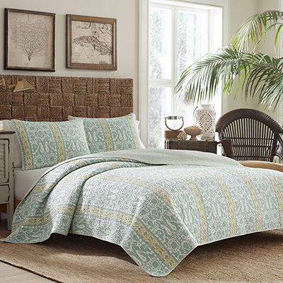 Tommy Bahama Paradise Ikat Harbor Blue Quilt Set From