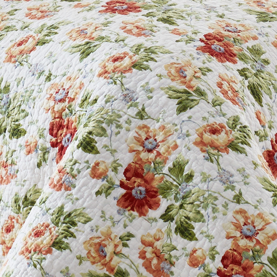 Laura Ashley Peony Garden Apricot Quilt Set From