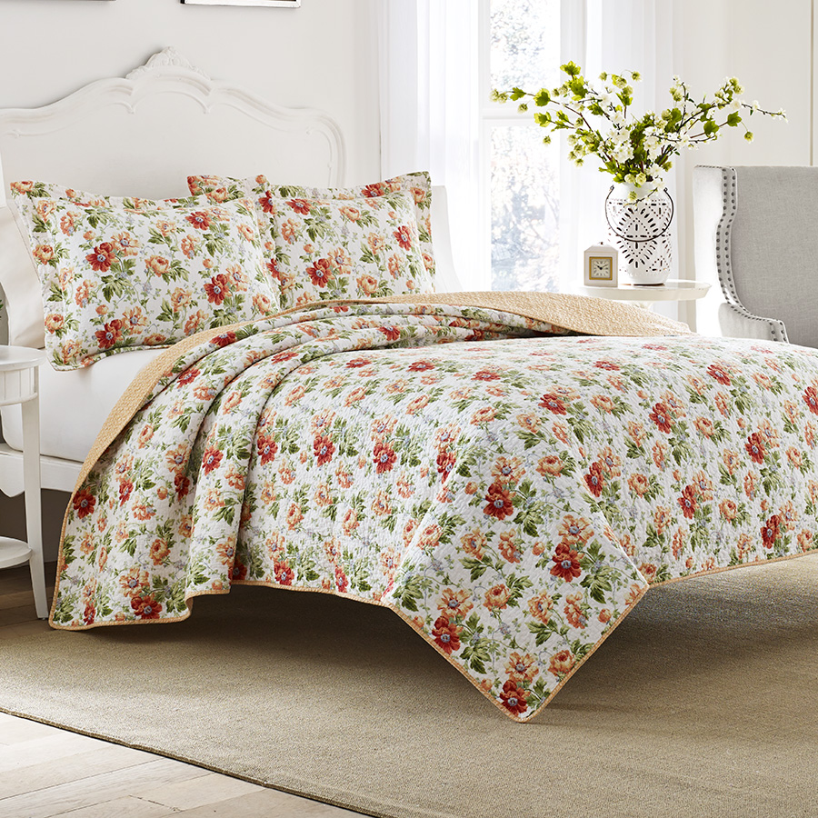 laura ashley peony garden apricot quilt set from. Black Bedroom Furniture Sets. Home Design Ideas