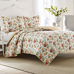 Peony Garden Apricot Quilt Set