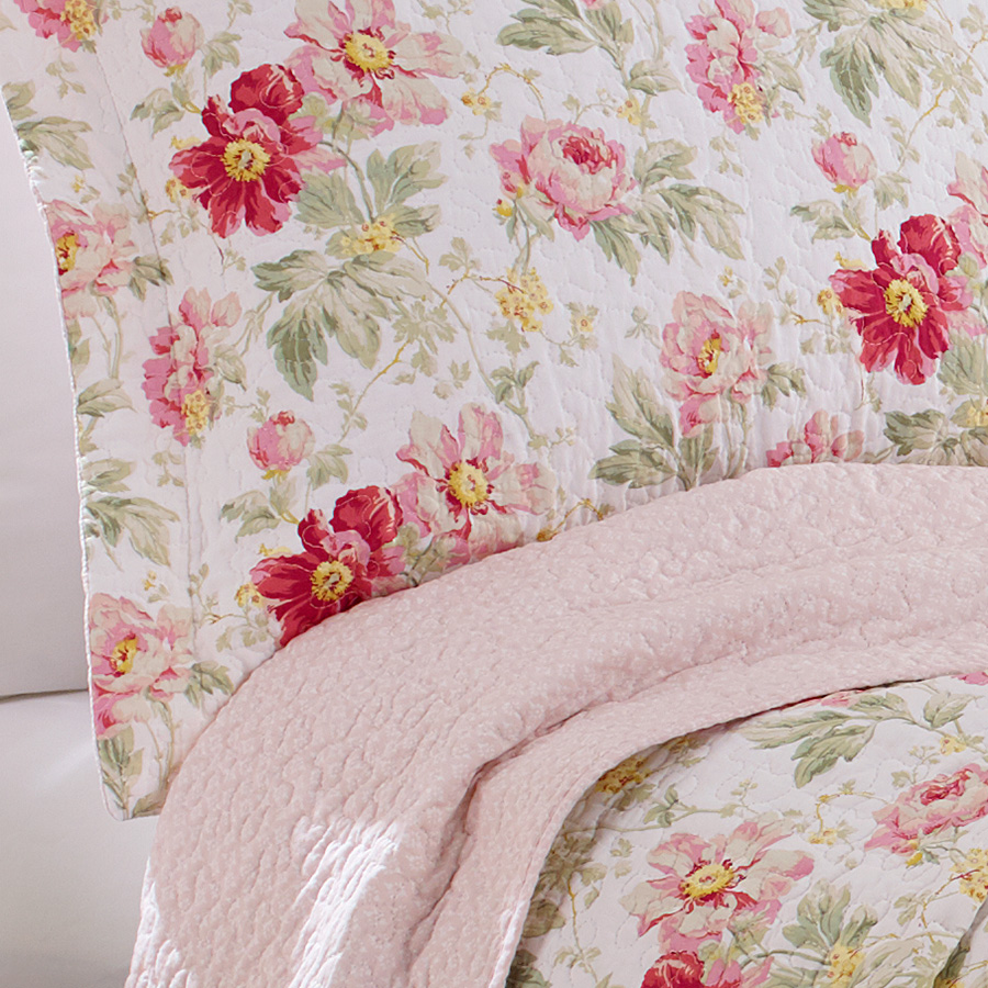 Laura Ashley Peony Garden Rose Quilt Set From