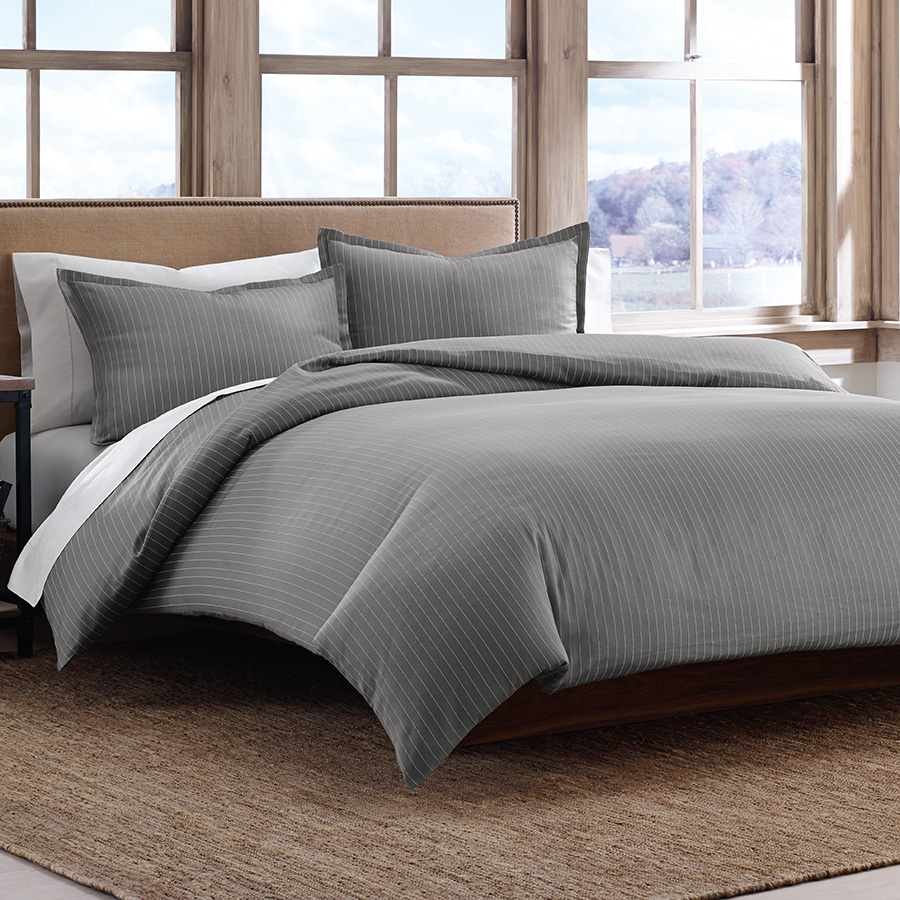 Full Queen Duvet Set Eddie Bauer Pinstripe