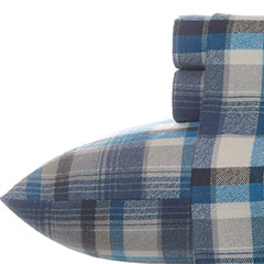 Eddie Bauer Spencer Plaid Flannel Indigo Sheet Set