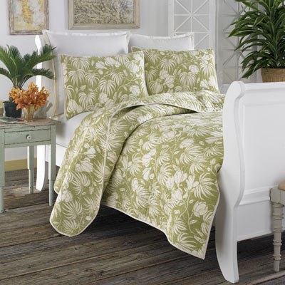 Tommy Bahama Plantation Floral Lime Quilt Set