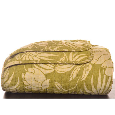 Tommy Bahama Plantation Floral Lime Quilted Throw Blanket