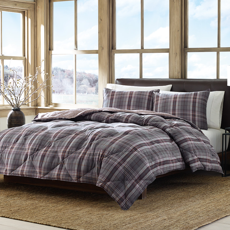 Eddie Bauer Port Orchid Plaid Comforter Set From