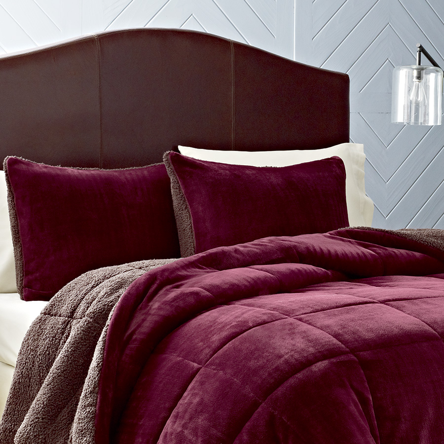 Full Queen Comforter Set Eddie Bauer Premium Fleece Beet