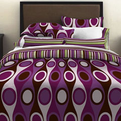 Retro Radar Purple Duvet Cover Set