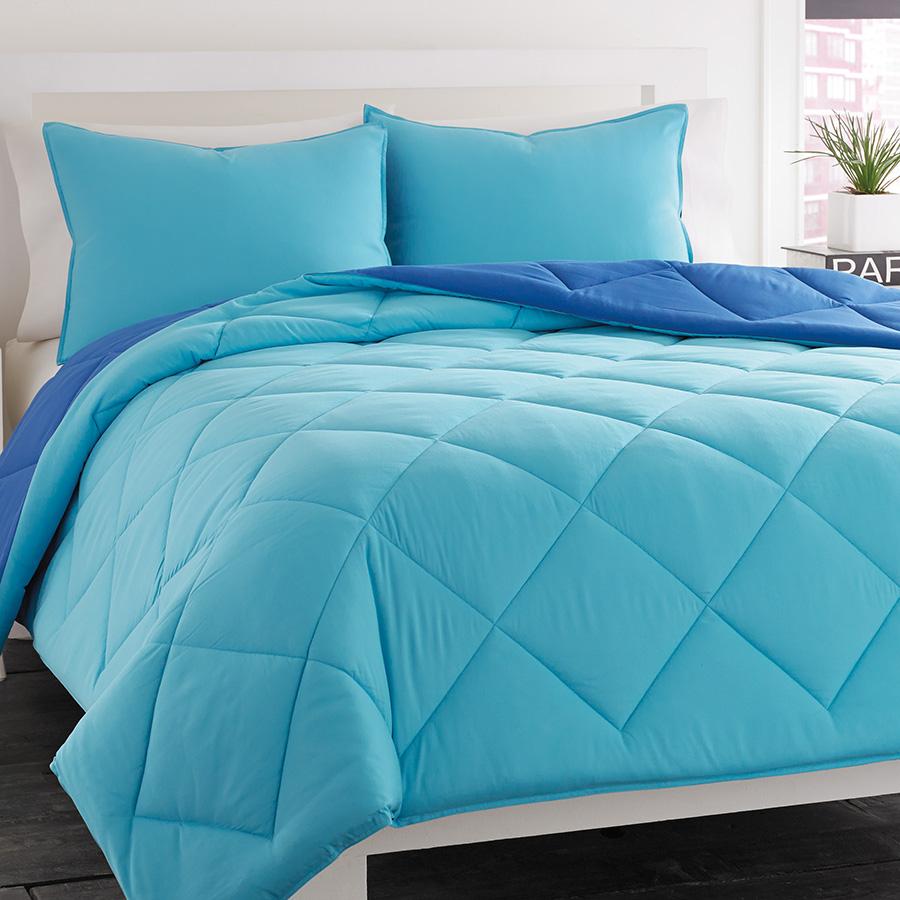 City Scene Reversible Ocean Blue Comforter Set From