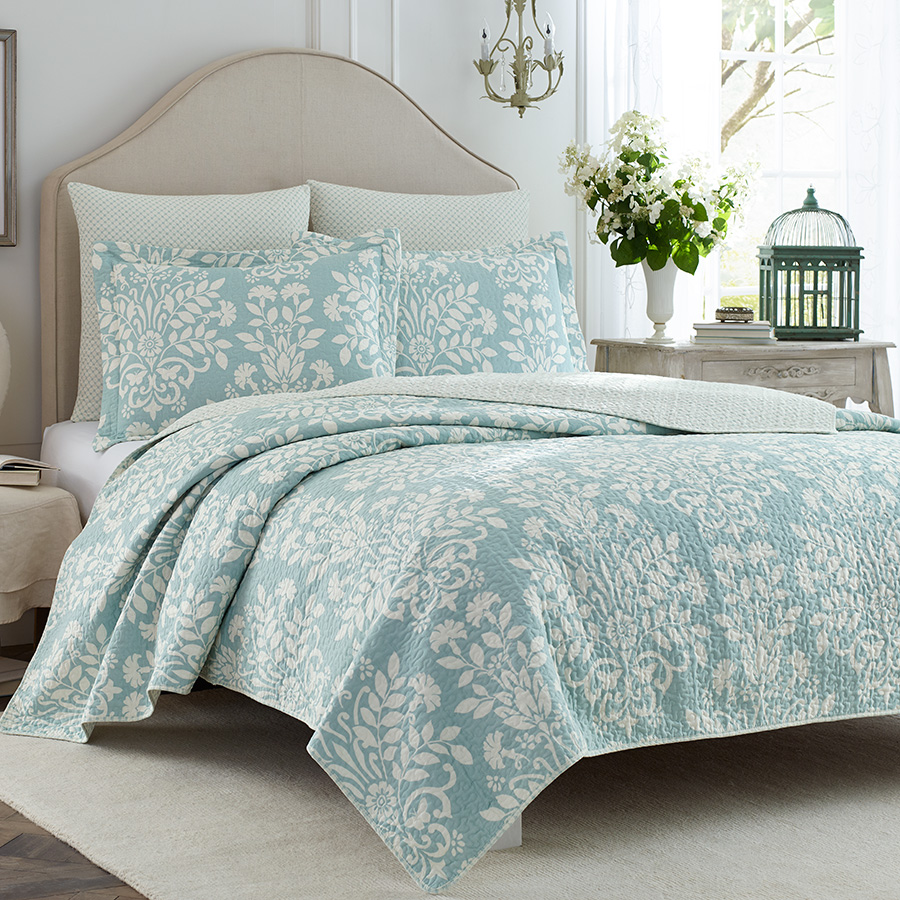 Laura Ashley Rowland Blue Quilt Set From