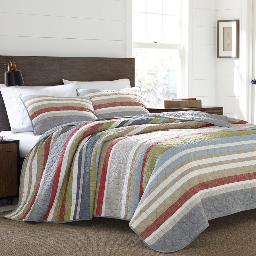 Eddie Bauer Salmon Ladder Stripe Quilt Set From