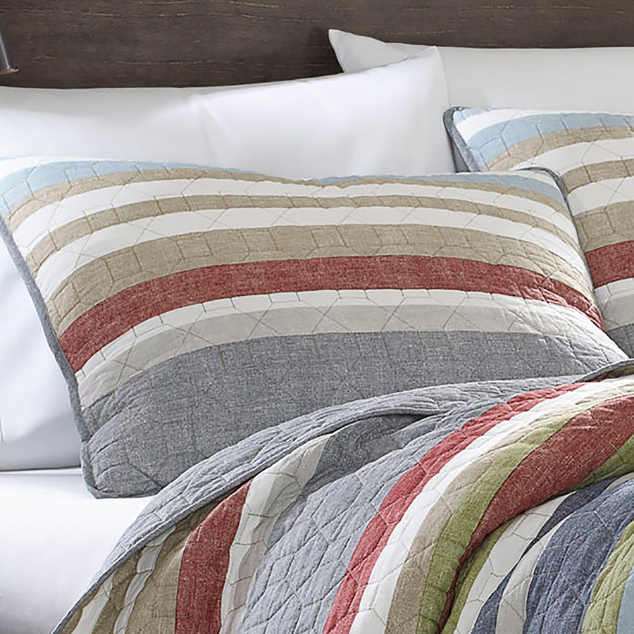 eddie bauer salmon ladder stripe quilt set from beddingstyle com