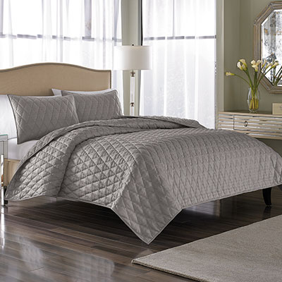 Nicole Miller Serenity Pewter Coverlet Set