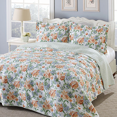 Laura Ashley Sherborne Apricot Quilt Set