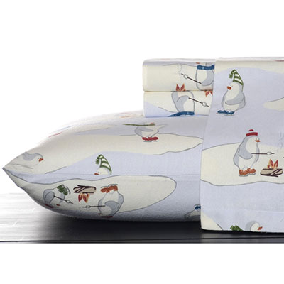 Eddie Bauer Skating Penguins Flannel Sheet Set