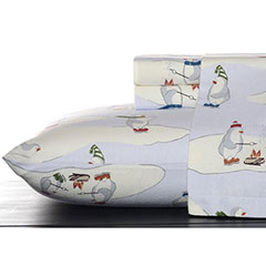 Twin Flannel Sheet Set (Eddie Bauer Skating Penguins)