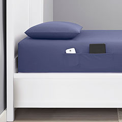 Poppy & Fritz Solid Cadet Blue Bonus Pocket Sheet Set