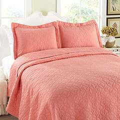 Laura Ashley Solid Coral Quilt Set
