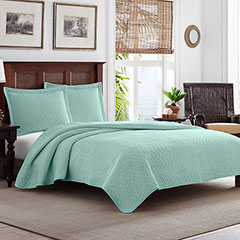 Tommy Bahama Solid Harbor Blue Quilt Set