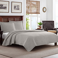 Tommy Bahama Solid Pelican Gray Bay Quilt Set