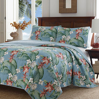Tommy Bahama Southern Breeze Water Blue Quilt Set