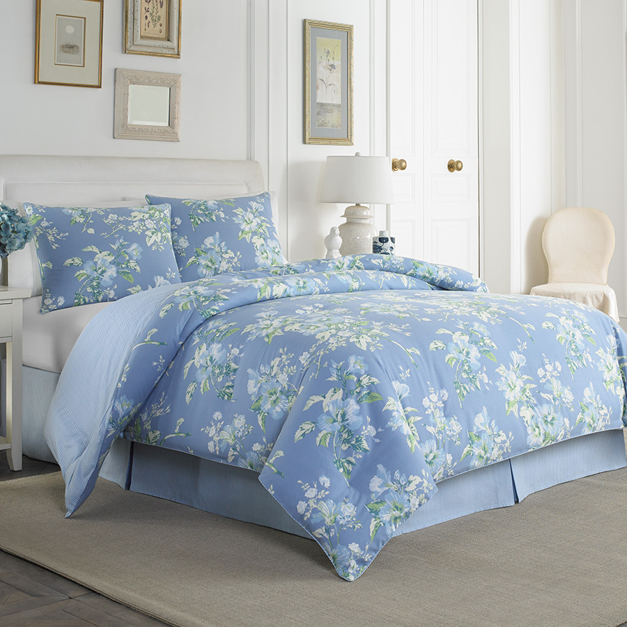 Laura Ashley Spencer Periwinkle Comforter Set From
