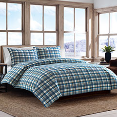 Spencer Plaid Flannel Indigo Duvet Set