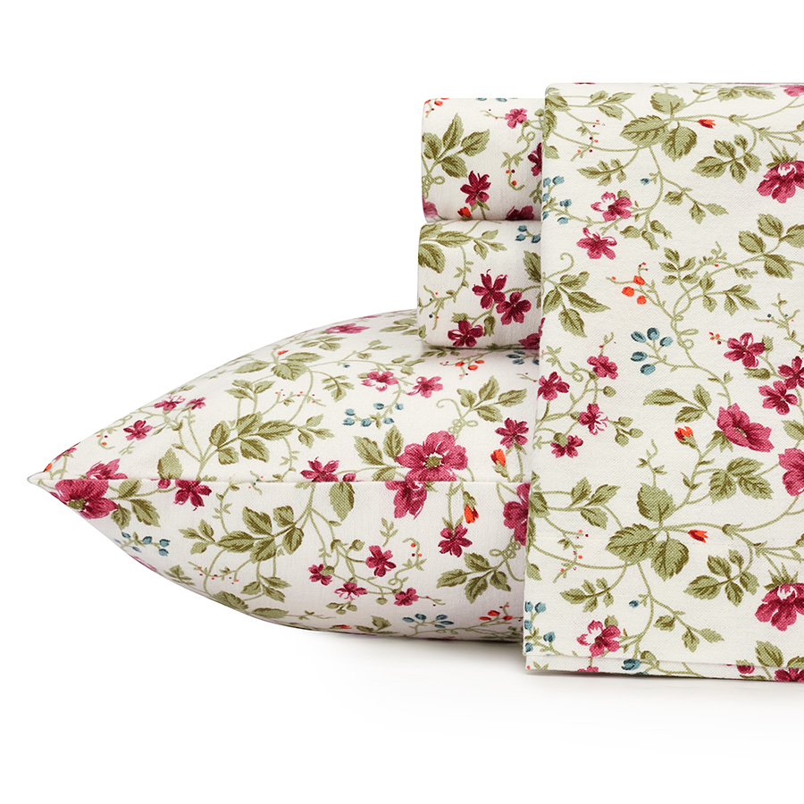 Laura Ashley Flannel Queen Sheet Set: Laura Ashley Spring Bloom Cranberry Flannel Sheet Set From