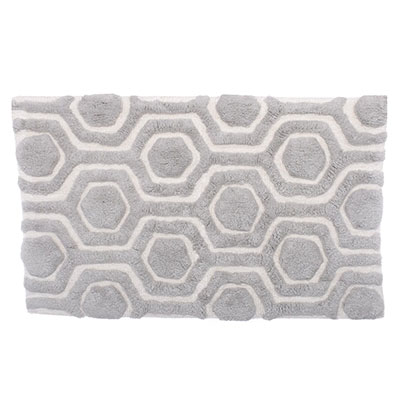 Candice Olson Strands Silver Gray/Cloud White Bath Rug