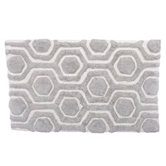 Strands Silver Gray/Cloud White Bath Rug