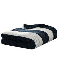 Stripe Knit Navy Throw