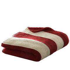 Stripe Knit Red Throw