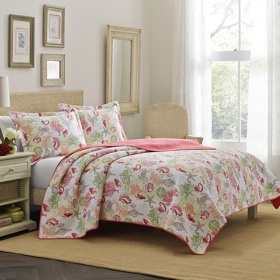 Laura Ashley Surf Spray Coral Quilt Set From Beddingstyle Com
