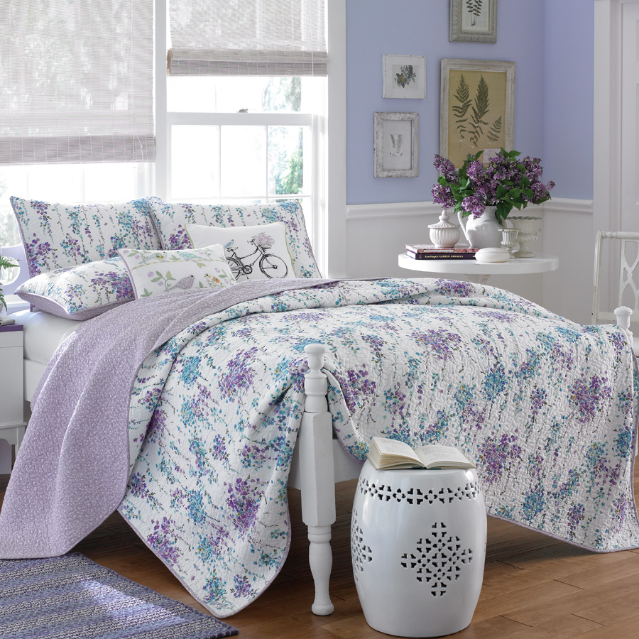 Laura Ashley Full Queen Tessa Quilt Set Euro Shabby
