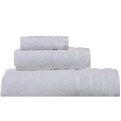 Vera Wang  Twill Stripe White Towel Set