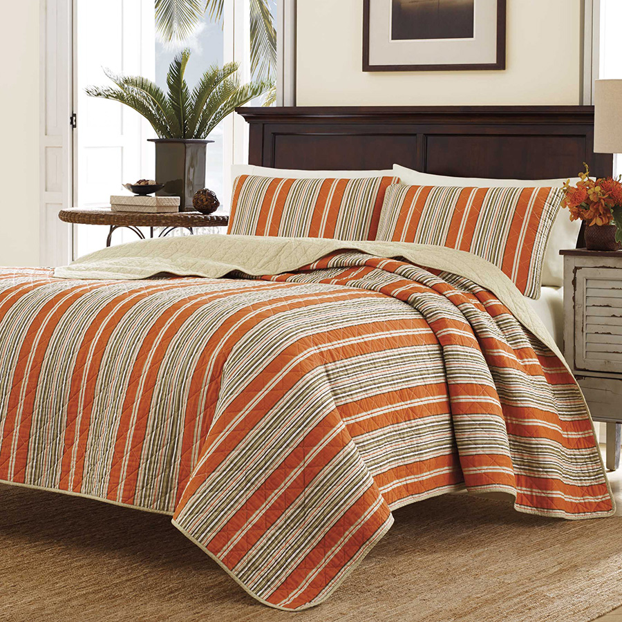 Tommy Bahama's Cayo Coco bedding ensemble is the perfect addition for your bedroom. A large scale palm leaf print is scattered over the rust ground. On the reverse is a solid rust dasreviews.mlorm your bedroom in to a relaxing tropical getaway with the Tommy Bahama Cayo Coco bedding ensemble.