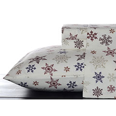 Tossed Snowflake Flannel Sheet Set