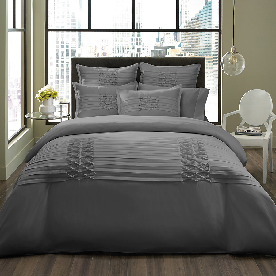 Euro Sham Set City Scene Triple Diamond Gray