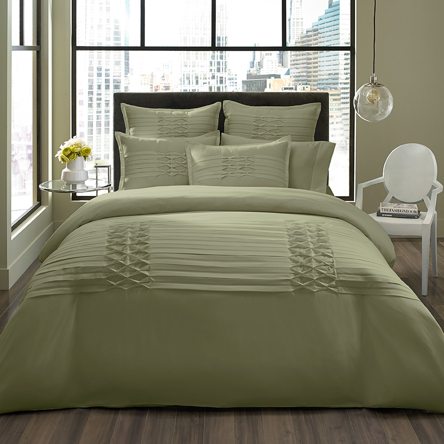 City Scene Triple Diamond Sage Duvet Set From Beddingstyle Com