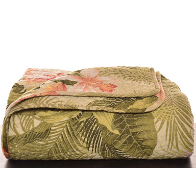 Tommy Bahama Tropical Orchid Quilted Throw Blanket From