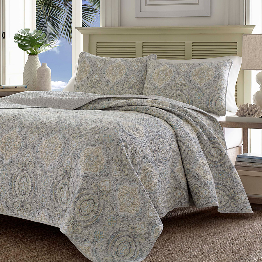 Tommy Bahama Turtle Cove Pelican Grey Quilt Set From